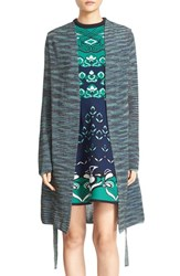 M Missoni Women's Spaced Dye Shimmer Knit Long Cardigan Teal