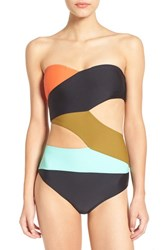 Volcom Women's 'Simply Solid' Cutout One Piece Swimsuit Black Multi