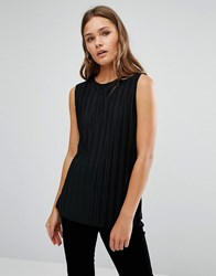 New Look Pleated Jersey Vest Top Black