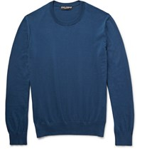 Dolce And Gabbana Knitted Cotton Sweater Blue