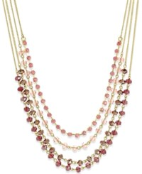 Inc International Concepts Gold Tone Multi Row Beaded Necklace Only At Macy's Pink