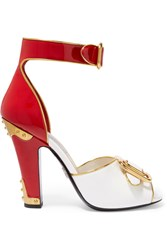 Prada Embellished Patent Leather Sandals Red