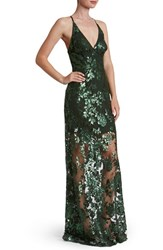 Dress The Population Women's 'Vivienne' Sequin Lace Gown Olive