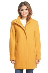 Petite Women's Ellen Tracy Wool Blend Stadium Coat Marigold