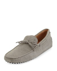 Suede Tie Driver Gray Tod's