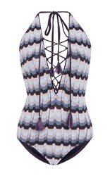 Suboo Ombre Knit Lace Up One Piece Blue