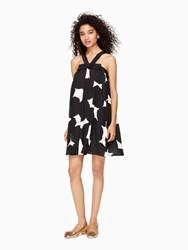 Kate Spade Blot Dot Silk Bow Dress French Cream Black