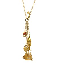 Annina Vogel 9Ct Yellow Gold Crown Ship And Fish Vintage Signature Charm Necklace