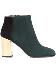 Marni Contrast Heel Ankle Boots Green