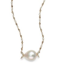 Mizuki Sea Of Beauty 12Mm White Teardrop Freshwater Pearl Diamond And 14K Yellow Gold Necklace
