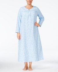Charter Club Plus Size Printed Flannel Nightgown Only At Macy's Blue Scroll