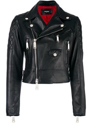 Dsquared2 Ribbed Detail Biker Jacket Black