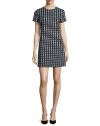 Theory Jatinn Geometric Tile Print Shift Dress Black Multi