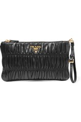 Prada Matelasse Leather Clutch Black
