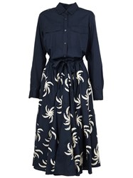 Dries Van Noten Printed Shirt Dress Blue