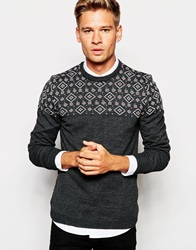 Asos Jumper In Twist With Aztec Design Charcoal