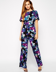 Girls On Film Foral Jumpsuit With Cut Outs Blue