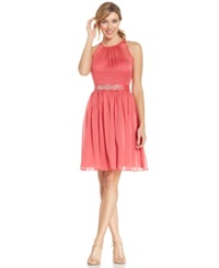 Adrianna Papell Belted Chiffon Halter Dress French Coral