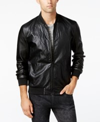 Guess Men's Perforated Faux Leather Bomber Jacket Black