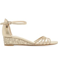 Dune Kayleen Laser Cut Metallic Leather Wedge Sandals Gold Leather