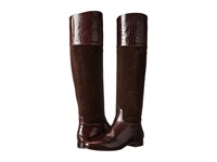 Michael Kors Rooney Chocolate Embossed Croco Shiny Sport Suede Women's Boots Brown