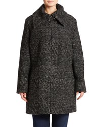 Jones New York Plus Fold Over Collar Coat Grey