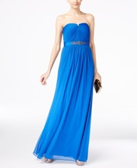 Adrianna Papell Strapless Ruched Gown Royal