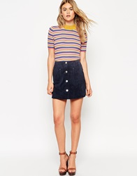 Asos Suede A Line Skirt With Button Through And Pocket Detail Navy