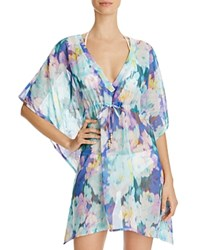 Echo Flowers In The Wind Butterfly Tunic Swim Cover Up Amazon Blue