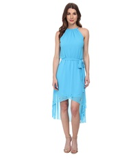 Jessica Simpson Chiffon Hi Low Maxi W Bungee Neck Sea Blue Women's Dress
