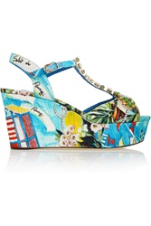 Dolce And Gabbana Portofino Crystal Embellished Printed Faille Wedge Sandals
