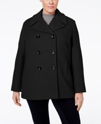 Calvin Klein Plus Size Wool Cashmere Double Breasted Peacoat Black