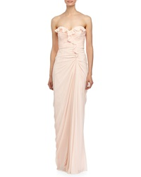 Badgley Mischka Ruched Sweetheart Neck Strapless Gown Blush
