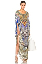 Camilla Round Neck Caftan In Animal Print Blue Abstract