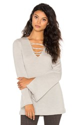 525 America Lace Front Sweater Light Gray