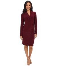 Kamalikulture By Norma Kamali Long Sleeve Side Draped Dress Purple Women's Dress