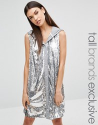 Liquor And Poker Tall All Over Sequin Sleeveless Hoodie Grey Silver
