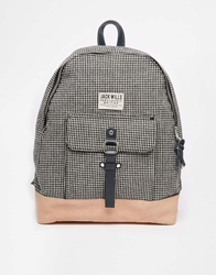 Jack Wills Backpack In Dogtooth Check With Leather Trim Dogtoothpumpkin