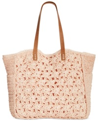 Straw Studios Flower Crochet Tote Peach