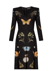 Alexander Mcqueen Obsession Print V Neck Crepe Dress Black Multi