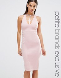 Naanaa Petite Sleeveless Plunge Cross Back Pencil Dress Tawny Rose Pink