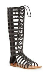 Zigi Girl Women's 'Jacee' Tall Gladiator Sandal Black Faux Leather
