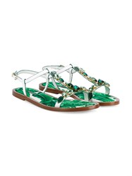 Dolce And Gabbana Crystal Embellished Flat Leather Sandals White Multi Coloured Green