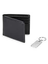 Perry Ellis Pebbled Leather Billfold Wallet And Key Fob Set Black