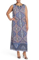 Plus Size Women's London Times Paisley Beaded Blouson Maxi Dress