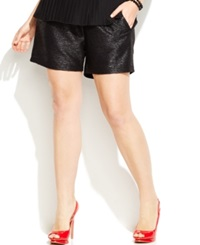 Junarose Plus Size Faux Leather Trim Crepe Shorts Black