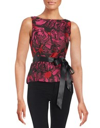 Adrianna Papell Floral Jacquard Top Red Multi