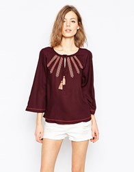 Only Cheesecloth Bell Sleeve Top With Embroidered Detail Red