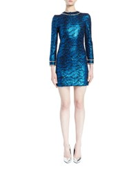 Saint Laurent Metallic Snake Print Mini Dress Blue