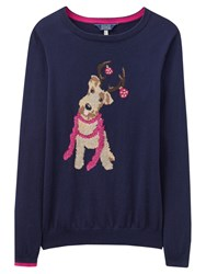 Joules Festive Dog Intarsia Jumper Navy